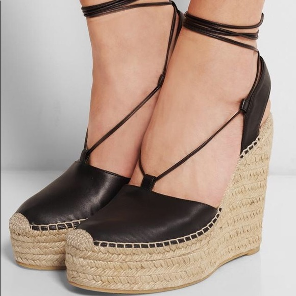 42d314da10a5 Saint Laurent Black Leather Espadrille Wedges. M 5afca1eedaa8f62ad0815034
